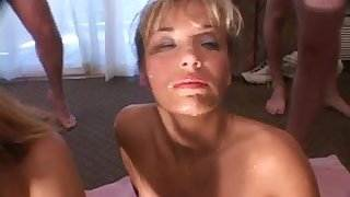 Two Nasty Cuckold Wives in Bukkake Party